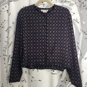 Navy blue patterned blouse with rope trim